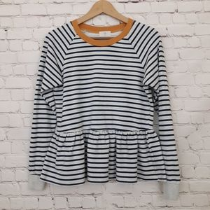 Anthropologie t.la Sweatshirt Striped Peplum